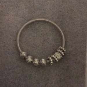 Jewelry - Silver Plated Charms Cable Wire Bracelet